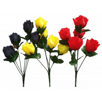 S3511EAsst Assorted Rosebud Bush x 7 Yellow Red Black