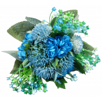 S3762Blu Native Tropical Bouquet in Blue