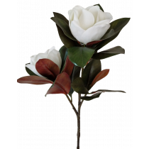 S3811Wht Magnolia Real touch White Magnolia Branch with 2 Heads