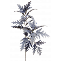 S5896DkBlu Dusty Miller Type Leaves Flocked Spray
