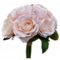 S7503Pch Peach Pink Rose Bouquet by 9 Artificial wedding Bouquet