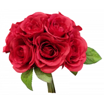 S7503Rd Valentines Red Rose Bouquet by 9 Artificial wedding Bouquet