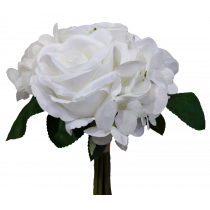 S7504Wht Wedding White Bouquet with rose and hydrangea