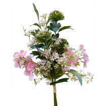 S7516DPnk Pink Hydrangea with pink white filler and pink white Allium Bouquet