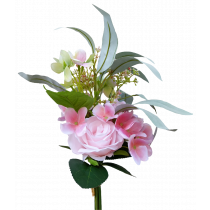 S7517LtPnk Pink Rose Light Pink Hydrangea with Rose and Gum Leaf Bouquet