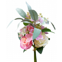 S7517Pnk cream and Pink Rose Light Pink Hydrangea with Rose and Gum Leaf Bouquet