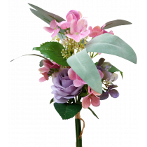 S7517Pur Lavender Purple Rose Pink and Purple Hydrangea with Rose and Gum Leaf Bouquet