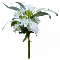 S7517Wht White Rose White Hydrangea with Rose and Gum Leaf Bouquet