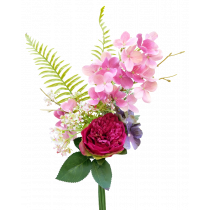 S7518Rd Wine Peony With Pink Hydrangea and Lavender Hydrangea and Fern