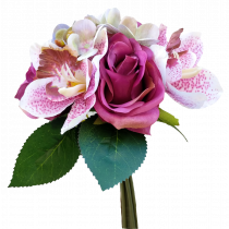 S7519Pur Bouquet Pink white Cymbidium Hot Pink Rose and Hydrangea