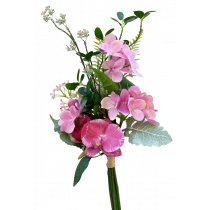 S3750Burg Hot Pink Rose & Pink Phalaenopsis Orchid Bundle with Pink Hydrangea and Dusty Miller