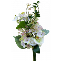 S3750Wht White Rose & Phalaenopsis Orchid Bundle with Cream Pink Hydrangea and Dusty Miller