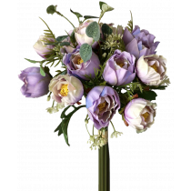 S7528Pur 36cm Lavender White Lily of the valley Bouquet 14 flowers