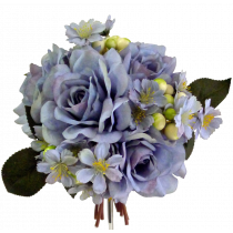 S7553Blu Dusty Lavender Blue Rose Berry and Blossom Bouquet