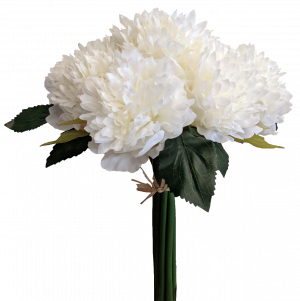 S7508Wht Frilly White Peony Bouquet x 7